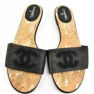"CHANEL: Black, Leather & ""CC"" Logo, Flat Sandals"